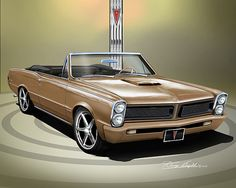 ITEM 5-X-16 1965 CUSTOM PONTIAC GTO CONVERTIBILE (Tiger gold)  BUY THE PRINT AT: http://www.dannywhitfield.com/1964_1965_GTO.html
