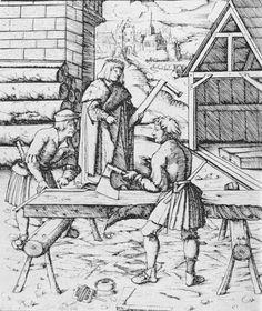 Emperor Maximilian visiting carpenters. Woodcut from Der Weisskunig from Hans Schaufelein, 1517