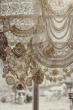 Drapery valance made from antique lace doilies and other lace pieces. This would be beautiful in a cottage or shabby chic space. Antique Lace, Vintage Lace, Vintage Crochet, Lace Doilies, Crochet Doilies, Crochet Curtains, Crochet Lace, Doilies Crafts, Crochet Edgings