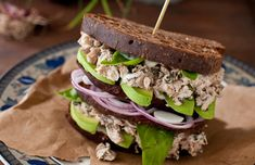 Basil Chicken Salad with Mushrooms, Walnuts and Avocado #lunchenvy