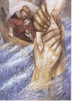 Jesus our savior rescuing hand from the storm. Herr rette mich