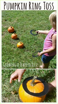 Here is a fun way to use those pumpkins before you carve them. Pumpkin Ring Toss. This would be great for a Fall party. Simple Fall FUN!