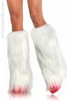 Furry Leg Warmers with Lurex Metallic Accents