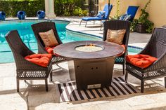 The Cyrpus 48'' round copper top fire table by Firetainment, for cooking, dining and relaxing. #firetainment