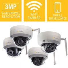 Q-SEE 3MP Wi-Fi Wireless Indoor/Outdoor Dome Security Surveillance Camera with 16GB SD Cards (4-Pack)