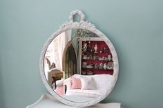 Shabby chic, vintage, white roses mIrror by VintageChicFurniture on Etsy.com