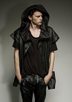 DZOJCHEN A/W12-13 Top: Oversized leather hoodie & sheer tank top  Bottom: Pleated lambskin leather pants