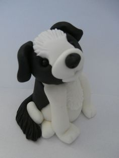 Border collie dog puppy Birthday cake topper sugar paste