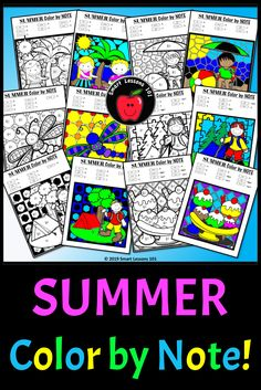 Distance Learning Summer Music Color by Code Worksheet Note Rhythm Dynamic Tempo Elementary Music, Elementary Education, Music Education, Music Activities For Kids, Music For Kids, Music Lesson Plans, Music Lessons, Music Theory Worksheets, Fun Music
