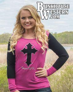 Cowgirl Tuff Company, Pink & Black, Long Sleeve, Cross Tee Shirt, Faith, Country Girl, $39.99, http://bunkhousewestern.com/s747
