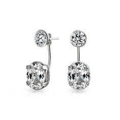 Bling Jewelry Clear CZ Round Modern Ear Jackets Rhodium Plated Sterling Silver * Details can be found by clicking on the image.