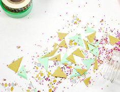 Learn how to make confetti with washi tape - you won't believe how easy it is. This is so fun for New Year's Eve!