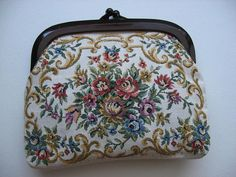 Sweet Vintage Tapestry Clutch Purse//Made in Hong