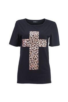 Leopard Cross Black T-shirt -$25.59 clothing-that-inspires-me