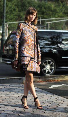 Anya Ziourova in Proenza Schouler's brocade dress. Prints In Streetstyle