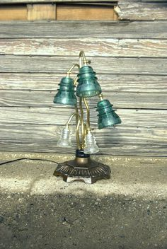Vintage insulator lilly desk lamp by HitandMissLimited on Etsy, $250.00