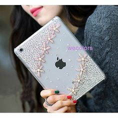Bling Special Lady Girl Crystal Flower Diamond Handmade Case Cover For iPad Mini