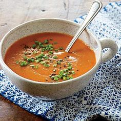 Roasting the tomatoes and garlic brings out a deep, savory flavor, allowing us to use less salt and save 450mg sodium per serving over traditional tomato soup. For speedier prep, use an immersion blender to puree the soup.