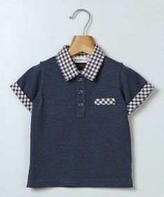 Another great find on #zulily! Navy Plaid Piqué Polo - Infant, Toddler & Boys #zulilyfinds