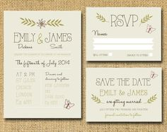 Spring Wedding invitation set - RSVP - Save the Date £25.00