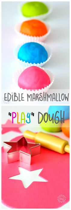 DIY Edible Marshmallow PlayDough Recipe: Fun dough recipe made with sugar and marshmallows! Come get this fantastic fun recipe here to make playtime amazing