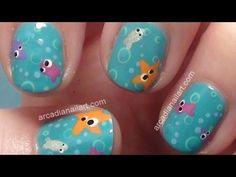 Cute Little Fish Under The Sea Nail Art Tutorial *Collaboration* (re-edit now with music) by ArcadiaNailArt