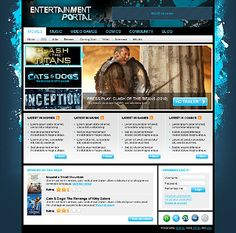 Entertainment Portal Joomla Templates by MariArti Portal Movie, Joomla Templates, Gaming, Entertainment, Website, Blog, Videogames, Games