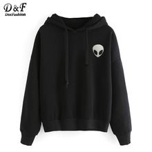 Dotfashion Casual Wear Pullovers Roupas Femininas Black Alien Imprimir Com  Capuz… Moletons 7d10ebe4dce