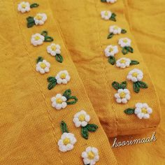 😊 Do you want to learn these very easy flowers? Wait for the video. میخواین این گل های خیلی آسون ُ یاد Embroidery On Kurtis, Kurti Embroidery Design, Hand Embroidery Dress, Hand Embroidery Videos, Embroidery Stitches Tutorial, Embroidery Flowers Pattern, Embroidery On Clothes, Embroidery Suits Punjabi, Simple Embroidery Designs