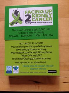 Our business card from Instantprint. Find the pdf here http://facingup2kidneycancer.org/press-and-media/ and download for sharing  Help spread the word. #facingup2KC