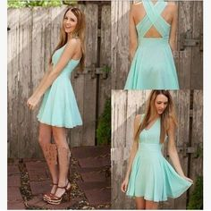 Fashionable with the sleeveless and back cross design,the dress can make you more attractive.You cana wear ir on casual and on party.It can make you be a princess. Material:Chiffon Size:S,M,L,XL Color