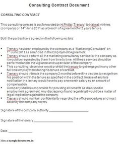 Write a Consulting Contract