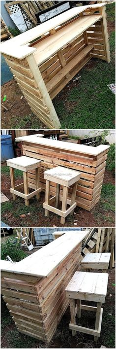 Wood pallets 751890100265010613 - Your social gatherings are also important and you want to keep everything stylish and unique in your door. The reclaimed wood pallets patio bar idea is beneficial. Wood Pallet Bar, Pallet House, Wood Pallets, Outdoor Pallet Bar, Outdoor Bars, Rustic Outdoor, Pallet Patio Furniture, Bar Furniture, Garden Furniture