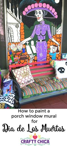 How to paint your own muertos mural on your front porch, by http://CraftyChica.com!