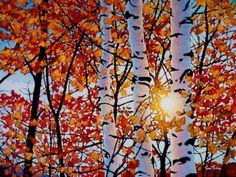 Golden Light by Tim Packer, Giclee on Canvas, Limited Edition Print Original Artwork, Original Paintings, Contemporary Landscape, Canadian Artists, Artist Painting, Knife Painting, Pictures To Paint, Tree Art, Painting Inspiration