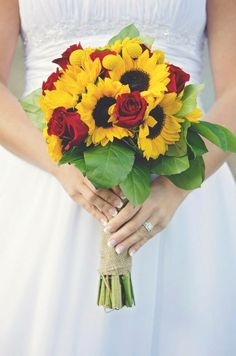 My Bouquet (red roses, sunflowers, and burlap)