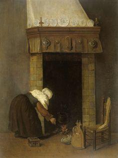 Vrouwtje bij de schouw, Jacob Vrel, 1654 - 1662