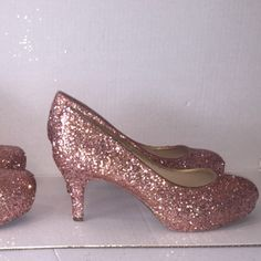 Sparkly Metallic Rose Gold Pink Glitter low Heel Wedding Bride sweet 16  prom shoes - Glitter Shoe Co 38e5db7fe4