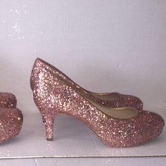 Sparkly Metallic Rose Gold Pink Glitter low Heel Wedding Bride sweet 16  prom shoes - Glitter Shoe Co 9af152aad070