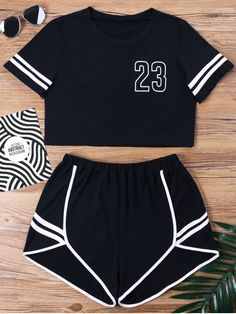 Contrast Binding Notch Shorts Two Piece Set. Shop for trendy fashion style  two piece outfits 58343c279d