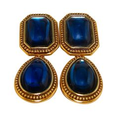 0e970231543 70s Yves Saint Laurent Blue Glass Cabochon Blue Earrings, Glass Earrings,  Glass Jewelry,