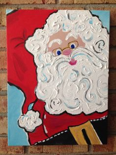 Whimsical Santa Painting with textured beard