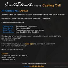 We are looking for Pan Asian/Eurasian/Chinese Female model (min. 1.65m, size S-M) for Online Fashion Photoshoot
