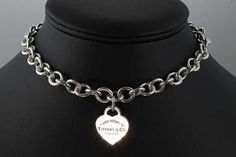 Vintage Tiffany & Co. sterling silver Please Return To... heart pendant and heavy link choker, 15.75 Free shipping in the U.S.A.