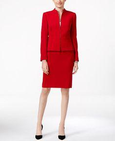 Tahari ASL Petite Crepe Peplum Zip-Front Skirt Suit