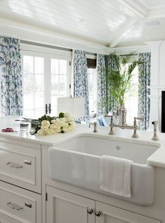I want this sink! Gorgeous   Kitchen. Pretty curtains too