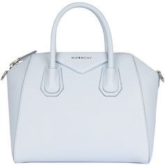 Givenchy Leather Antigona small bag ($2,001) ❤ liked on Polyvore featuring bags, handbags, givenchy, light blue, real leather handbags, summer purses, light blue purse, givenchy handbags and summer handbags