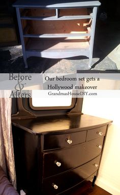 Hollywood dresser, sanded, painted and refinished to become a black and shiny beauty with glass knobs for a Hollywood glam look!