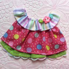 ELITE4U Laura CANDY Dots Boutique DRESS 4 Tear BEAR Premade Scrapbook 3paperwish