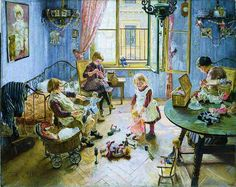 """FromBrück and Sohn (Printers in Meissen, Germany since 1793) a charming Advent Calendar of a Victorian Children's Playroom.This delightful advent calendar is 10.5"""" x 12.5"""".  Made in Germany.  Available at www.mygrowingtraditions.com"""